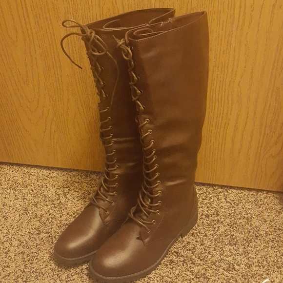 04cc470fc7e102 Brown lace up knee high combat boots
